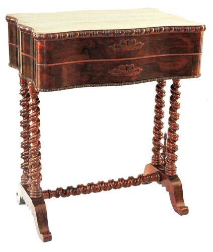 Work Table, night stand, Croome, Boston, c1845-51, Rococo, Brazilian rosewood