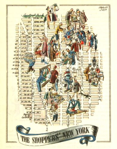 The Shopper's New York City NYC Antique Vintage Pictorial Map  (Small/Postcard s