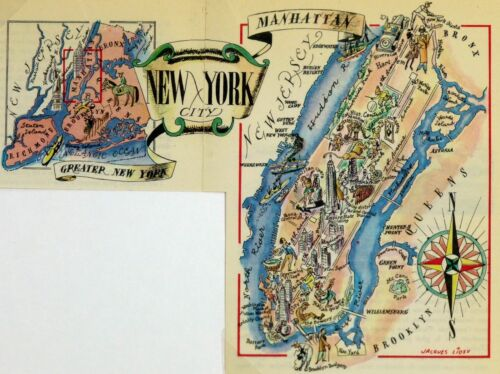 New York City Antique Vintage Pictorial Map