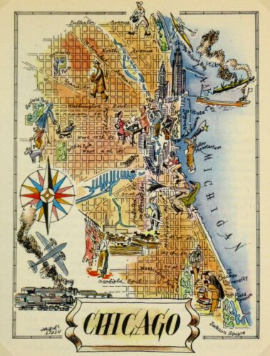 Chicago Vintage Pictorial Map  (Small/Postcard size)