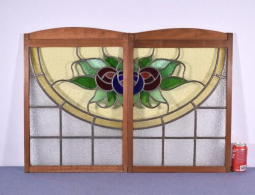 *Pair of Vintage French Stained/Leaded Glass Panels w/Flowers in Wood Frames