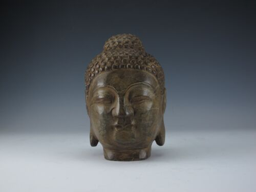 A Chinese Beautiful Black Marble Buddha Head Statue