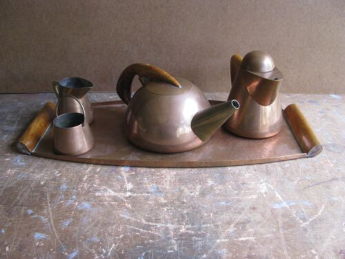 VINTAGE BLACKSTARR & GORHAM Streamline Art Deco COPPER TEA SET