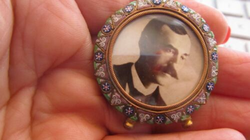 antique miniature Italian micro mosaic small round brass picture frame w/feet