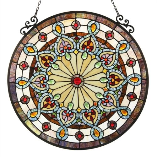 Round Tiffany Style Window Panel Victorian Stained Glass   ~LAST ONE THIS PRICE~