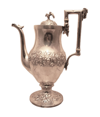 Antique Coin Silver Coffee / Tea Pot in Repousse Pattern by Kirk