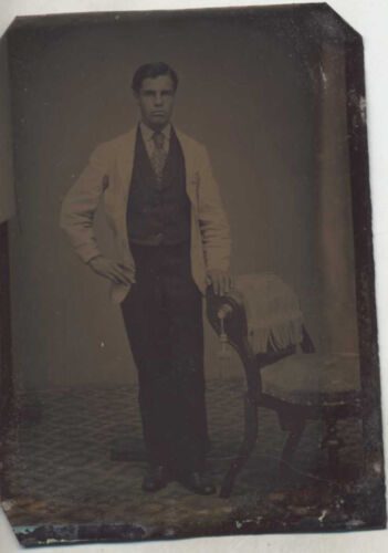 PORTRAIT OF VERY HANDSOME YOUNG MAN W/ ANTIQUE CHAIR   POSING STAND