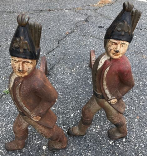 HESSIAN SOLDIERS PAIR ANTIQUE CAST IRON FIREPLACE ANDIRONS