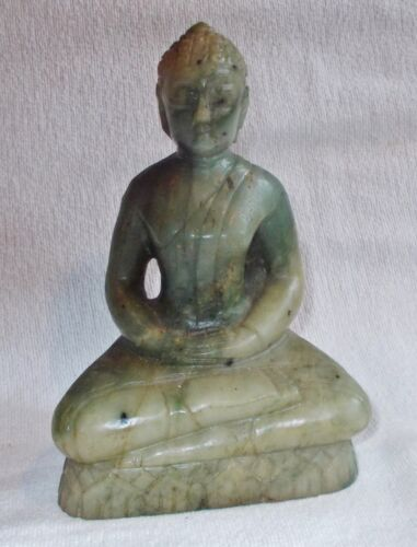 ANTIQUE CHINESE? CARVED QUING DYNASTY? NATURAL JADE SITTING BUDDHA STATUE