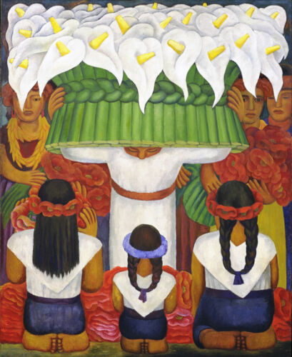 Flower Festival   by Diego Rivera Giclee Canvas Print Repro