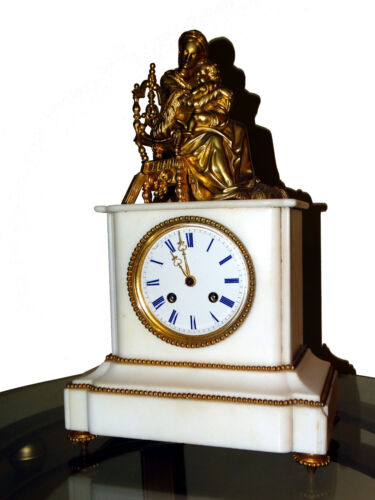 BEAUTIFUL FRENCH GILDET FIGURAL BRONZE / MARBLE MANTEL CLOCK cca 1855