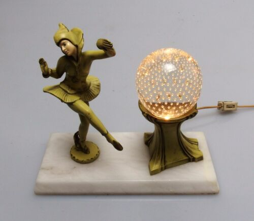 1920's Art Deco Gerdago Pixie Lamp w/ Pairpoint Bubble Glass Globe, EXC COND!