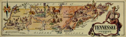 Tennessee Antique Vintage Pictorial Map (Small/Postcard size)