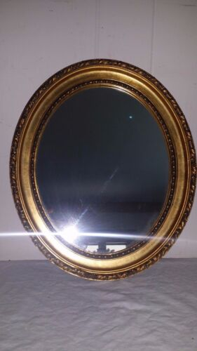 """Gorgeous Antique Wood & Guesso Oval Gilt Mirror, 13 1/4"""" by 12"""""""