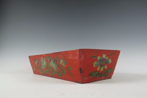 A Mongolian red lacquer wooden sewing box with white flower pattern design