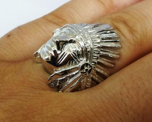 M058 Genuine 9ct White Gold INDIAN Chief Wide Mens Ring size 10 Native American