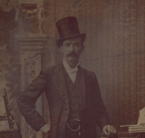 BEAUTIFUL PORTRAIT OF MAN IN TOP HAT W/ ORNATE PIANO   PAINTING