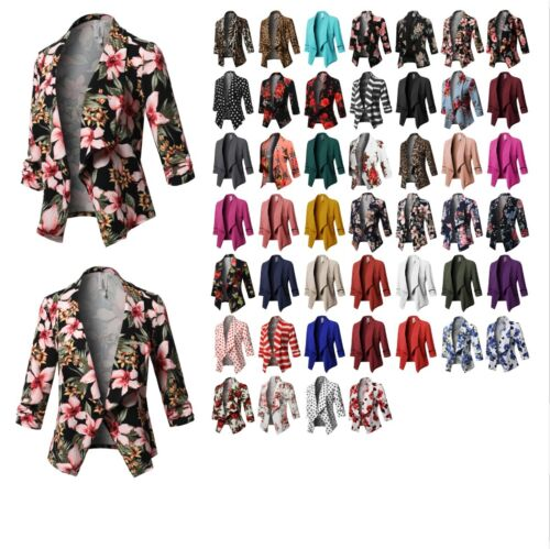 FashionOutfit Women's Solid Stretch 3/4 Gathered Sleeve Open Blazer Jacket