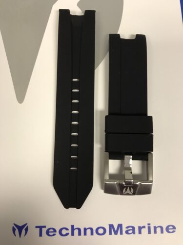 TechnoMarine Strap Solid Black with Silver Buckle For 45mm UF6