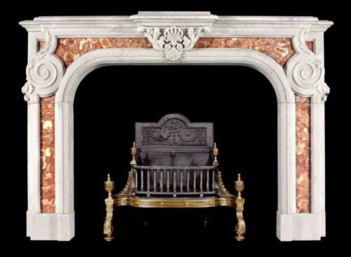 BEAUTIFUL 2 TONE HAND CARVED MARBLE FIREPLACE MANTEL