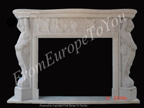 BEAUTIFUL MARBLE HAND CARVED CHERUB FIREPLACE MANTEL