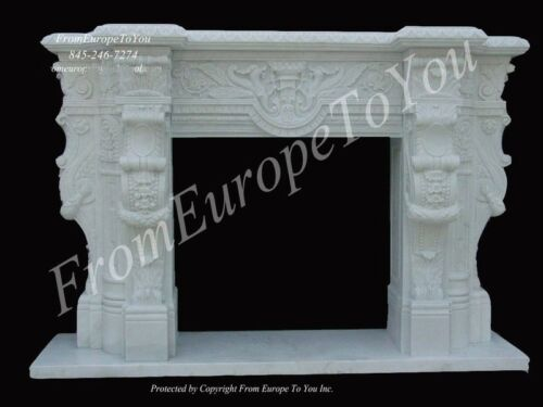 GREAT HAND CARVED HUNAN SOLID MARBLE ESTATE FIREPLACE MANTEL - GH32