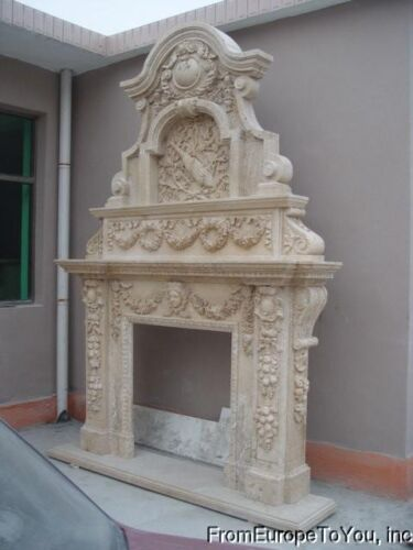 HAND CARVED LARGE TRAVERTINE FIREPLACE MANTEL FPM541