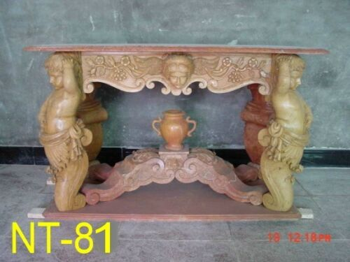 BEAUTIFUL HAND CARVED MARBLE FIGURAL TABLE NT81