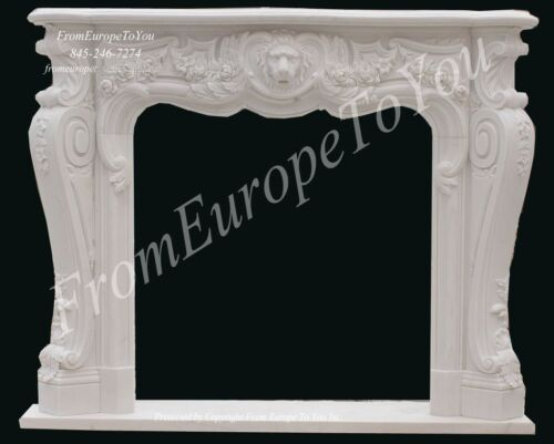 BEAUTIFUL HAND CARVED LION MARBLE FIREPLACE MANTEL FP96