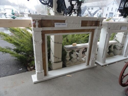 HAND CARVED MARBLE TWO TONE FIREPLACE MANTEL BE18A