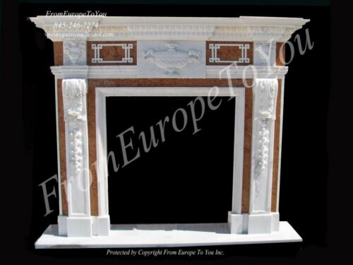 BEAUTIFUL TWO TONE HAND CARVED MARBLE FIREPLACE MANTEL