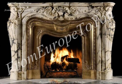 BEST FRENCH STYLE HAND CARVED SOLID MARBLE FIREPLACE LC036