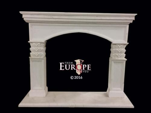 BEAUTIFUL HAND CARVED MARBLE  EUROPEAN DESIGN  FIREPLACE MANTEL - JD313
