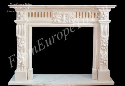 BEAUTIFUL HAND CARVED MARBLE FIREPLACE MANTEL TLE14