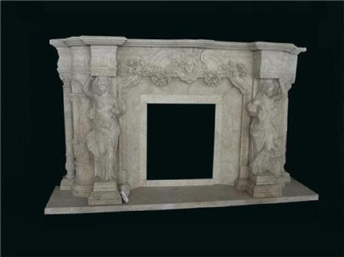 FIGURAL HAND CARVED MARBLE FIREPLACE MANTEL- MRM24