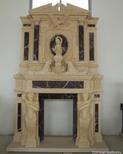 GREAT HAND CARVED FIGURAL CASTLE FIREPLACE MANTEL HD2
