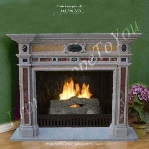 BEAUTIFUL HAND CARVED MARBLE FIREPLACE MANTEL LM041