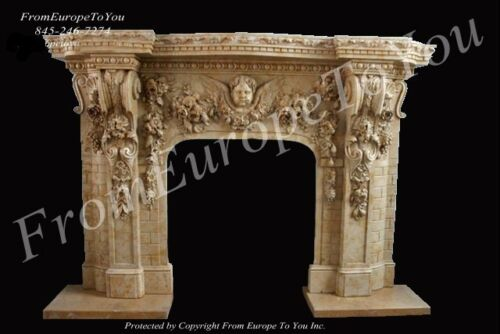BEAUTIFUL HAND CARVED CHERUB MARBLE FIREPLACE MANTEL #MBR166