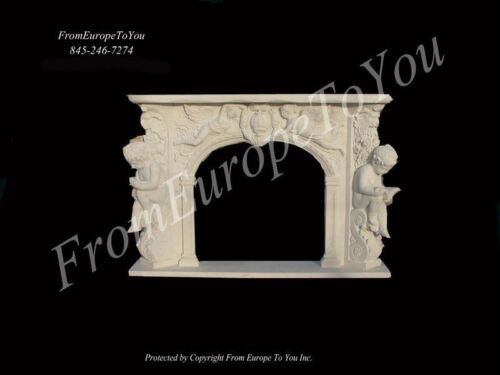 GREAT CARVED CHERUB MARBLE FIREPLACE MANTEL FGD045