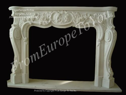 HAND CARVED WHITE CHERUB FRENCH STYLE FIREPLACE MANTEL