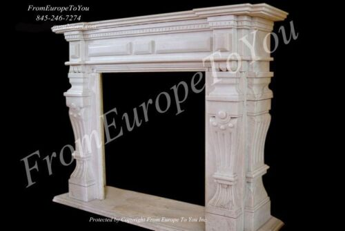 HAND CARVED MARBLE CLASSICAL FIREPLACE MANTEL TLE4A