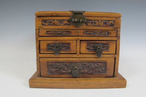 Chinese Antique Jewelry Makeup Chest of drawers box container hardwood wood dark