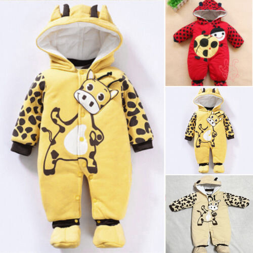 Kids Newborn Baby Girls Boys Hoodie Jumpsuit Romper Warm Outwear Clothes Outfits
