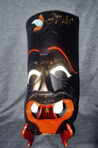Rare Antique Hand Carved/Painted Red and Black Japanese Wood Noh Demon Mask GUC