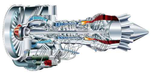 PRATT AND WHITNEY PW6000 TURBINE ENGINE CUTAWAY POSTER PRINT 18x36 9MIL PAPER