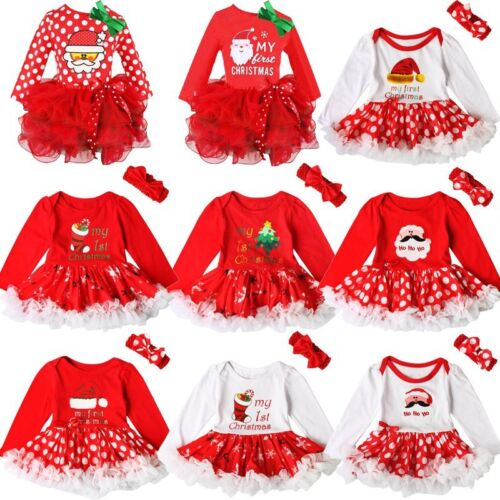 My 1st Christmas Newborn Girl Baby Clothes Christmas Headband Tutu Dress Outfit