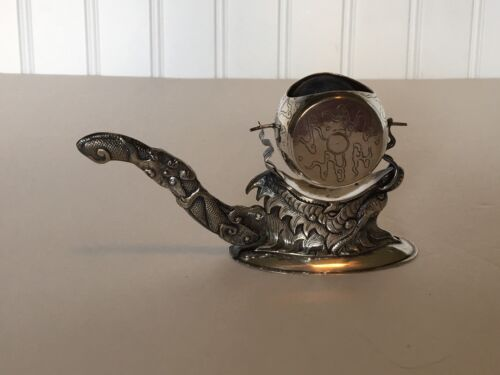 Vietnamese Thalha Silver Dragon on Stand with Swivel  Barrel Shaped Tea Strainer