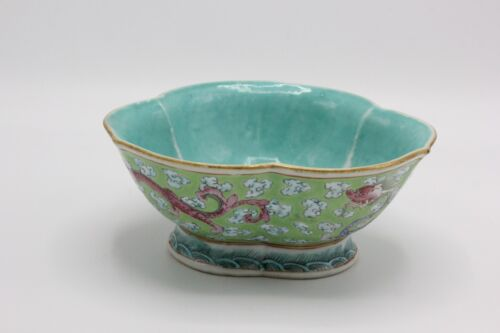 Chinese Turquoise Trefoil Bowl w/ Chilong Dragons, Daoguang Period, Shunzhi Mark