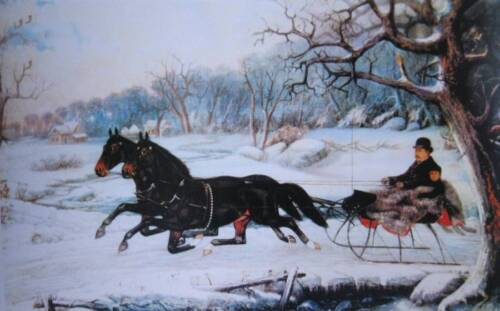 Old Fashion Horses Sleigh Currier and Ives type print Christmas