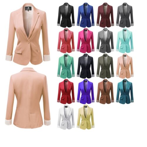 FashionOutfit Women's Solid Long Sleeves One Button Closure Side Pocket Blazer